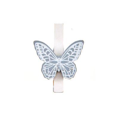 6 Pinces avec papillon - Gris