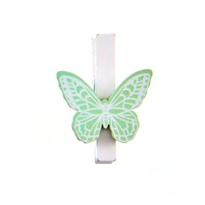 6 Pinces avec papillon - Vert menthe