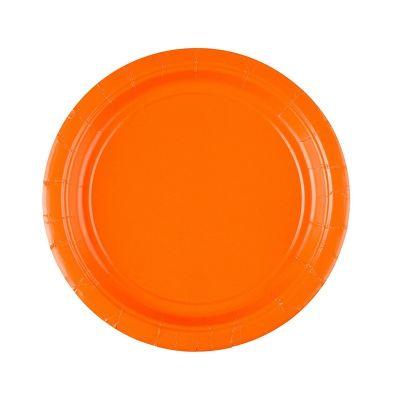 8 Petites Assiettes en Carton Oranges - 18 cm