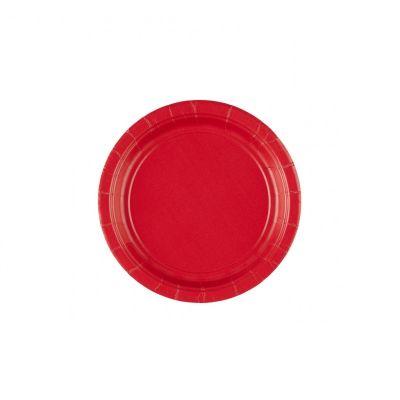 8 Petites Assiettes en Carton Rouges - 18 cm