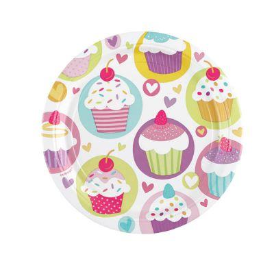 8 Assiettes Cartonnées 23 cm - Cupcake