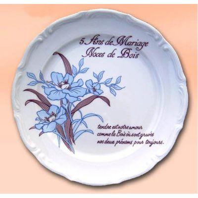 Assiette Anniversaire de Mariage 5 ans Noces de Bois
