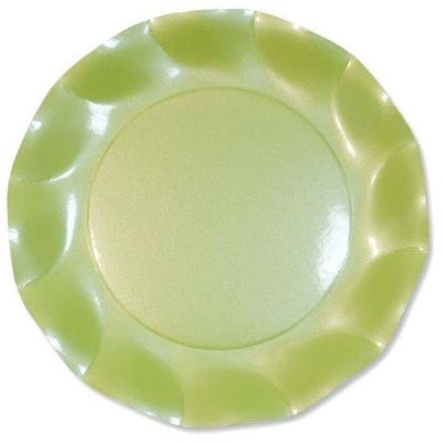 assiettes-ondulees-vert-clair-paques | jourdefete.com