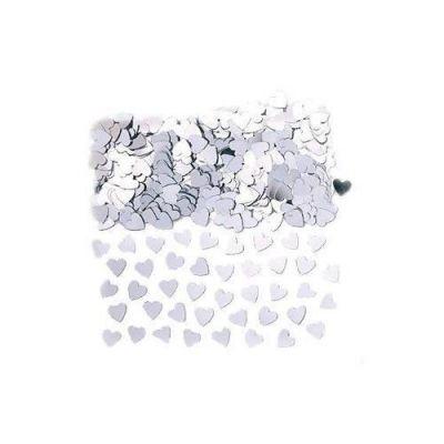 Confettis de Table Coeur Métallisé Argent