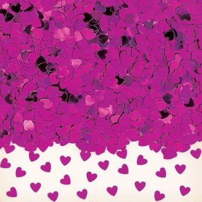 Confettis de Table Coeur Métallisé Fushia