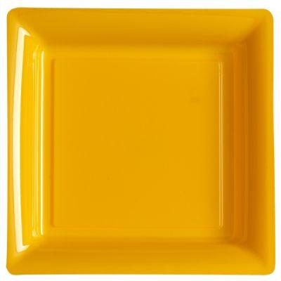 12 Assiettes Carrées en Plastique - Orange