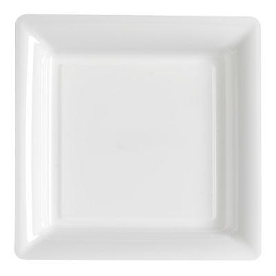 12 Assiettes Carrées en Plastique - Blanc