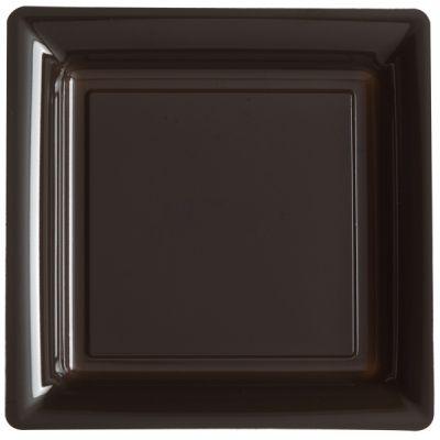 12 Assiettes Carrées en Plastique - Chocolat