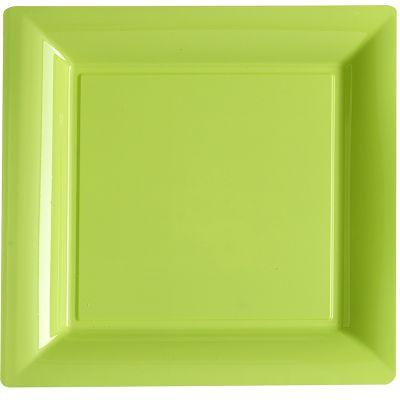 12 Assiettes Carrées en Plastique - Vert Anis