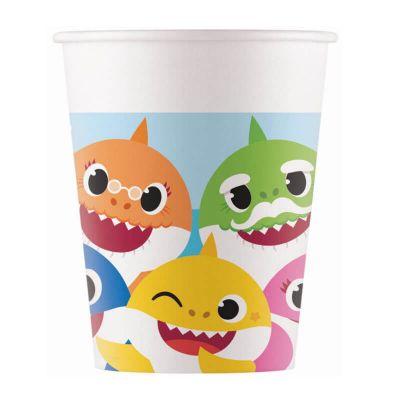lot de 8 gobelets en carton FSC Baby Shark de 25 cl | jourdefete.com