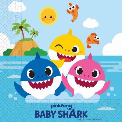 lot de 20 serviettes en papier FSC Baby Shark de 33cm | jourdefete.com