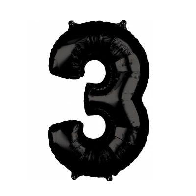 ballon à air chiffre au choix de 66 cm noir | jourdefete.com