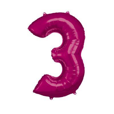 ballon geant aluminium helium rose chiffre au choix | jourdefete.com