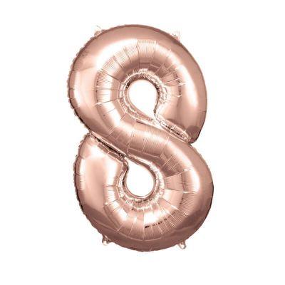 ballon geant aluminium helium rose gold chiffre au choix   jourdefete.com