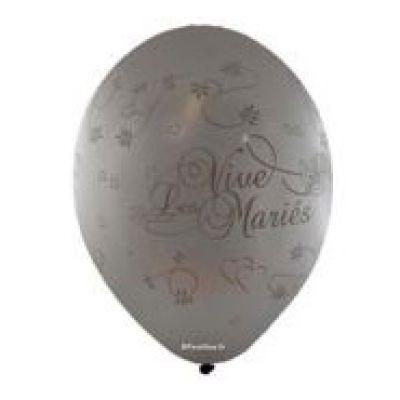 10 Ballons Vive les Mariés Couleur Argent