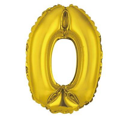 ballon métallique à air or de 36 cm chiffre 0 | jourdefete.com