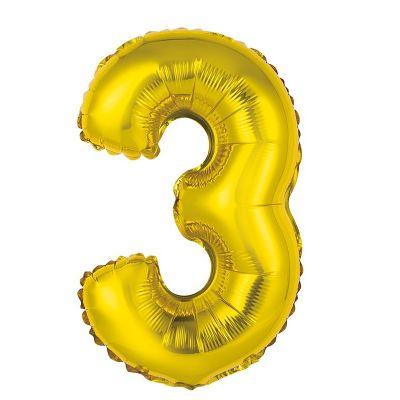 ballon métallique à air or de 36 cm chiffre 3 | jourdefete.com