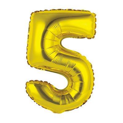 ballon métallique à air or de 36 cm chiffre 5 | jourdefete.com