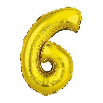 ballon métallique à air or de 36 cm chiffre 6 | jourdefete.com