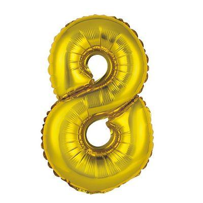 ballon métallique à air or de 36 cm chiffre 8 | jourdefete.com