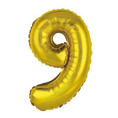 ballon métallique à air or de 36 cm chiffre 9 | jourdefete.com