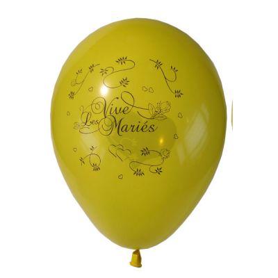 10 Ballons Vive les Mariés Couleur Jaune