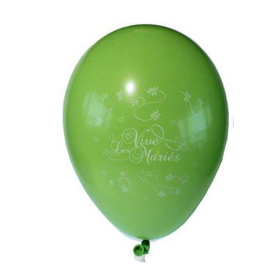 10 Ballons Vive les Mariés Couleur Vert Tilleul