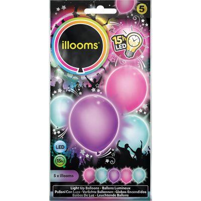 5 Ballons de Baudruche LED - Couleurs  Pastel Assorties