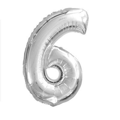 Ballon Chiffre d'Anniversaire Argent - 6