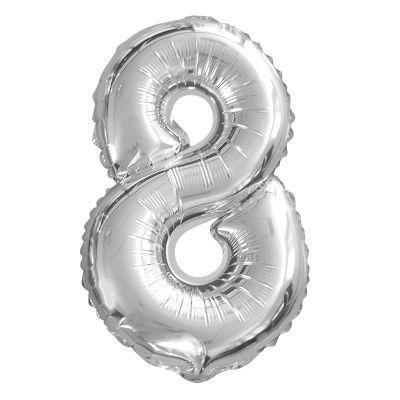 Ballon Chiffre d'Anniversaire Argent - 8