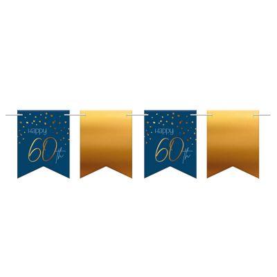 banniere de fanions anniversaire elegant bleu et or | jourdefete.com