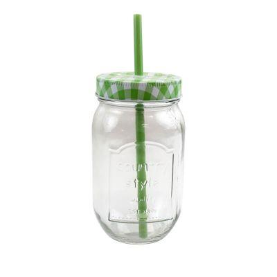 Pot en verre avec paille - Vert - 14.5cm