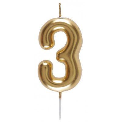 bougie métallisée sur pique or chiffre au choix | jourdefete.com
