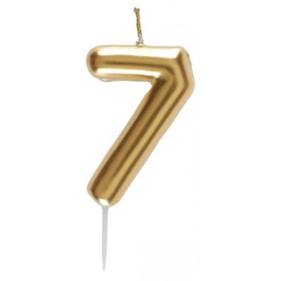 bougie métallisée sur pique or chiffre au choix   jourdefete.com