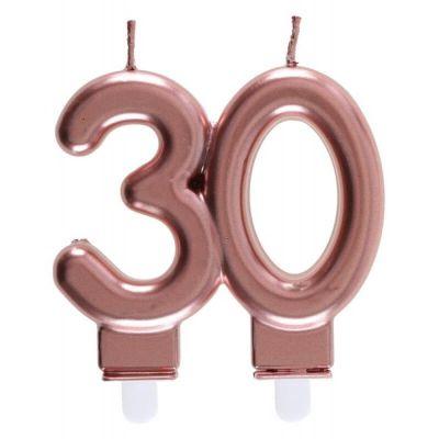 bougie métallisée rose gold âge au choix | jourdefete.com