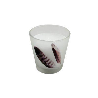 "Bougie en verre ""Plume"" - 6.5cm"