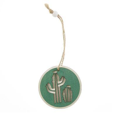 Deux cactus bois avec rondin diametre 7 cm a suspendre| jourdefete.com