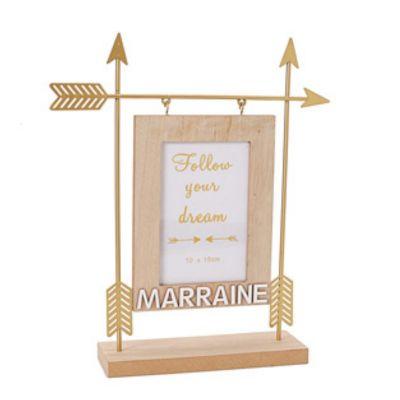Cadre Photo avec Flèches Dorées - Marraine | jourdefete.com