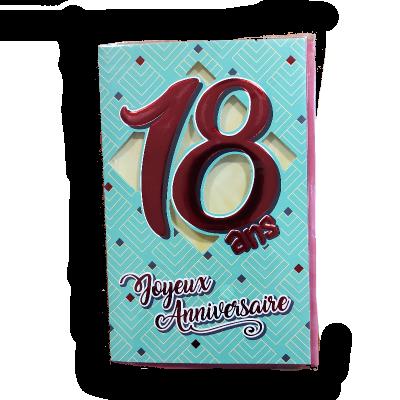 Carte d'Anniversaire Découp'âge Femme avec enveloppe - 18 ans   jourdefete.com