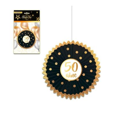 Eventail Party Chic 50 ans - Noir et Doré