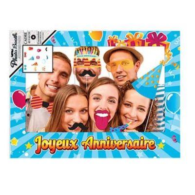 Cadre Géant Bleu Joyeux Anniversaire + Kit de 12 accessoires Photobooth