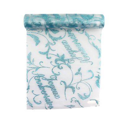 """Chemin de Table - """"Joyeux Anniversaire"""" Bleu"""