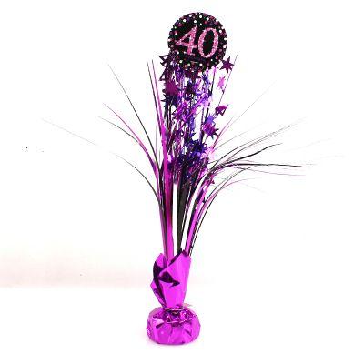 Centre de Table Palmier 40 Ans - Violet / Rose