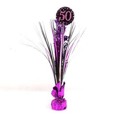 Centre de Table Palmier 50 Ans - Violet / Rose