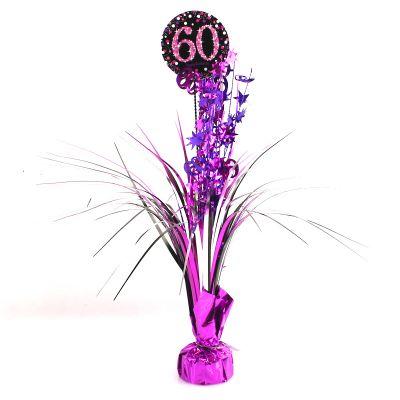 Centre de Table Palmier 60 Ans - Violet / Rose