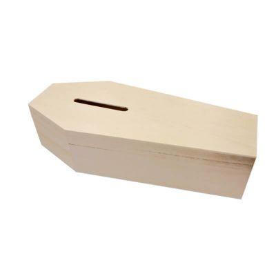 Tirelire cercueil pour enterrement de célibat (EVG/EVJF) - Bois | jourdefete.com