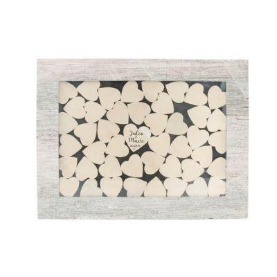 Cadre Champêtre avec 45 Cœurs en Bois | jourdefete.com