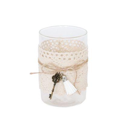 vase de 12 cm avec de la dentelle un pompon et une clef | jourdefete.com
