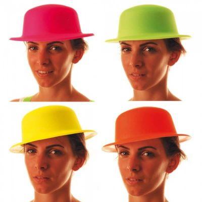 Chapeau Melon Fluo - Couleur au Choix   jourdefete.com