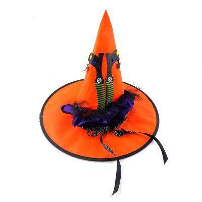 Chapeau de sorcière orange
